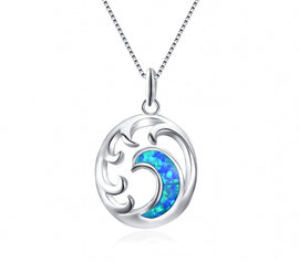 Genuine Opal Blue Wave Sterling Silver Necklace