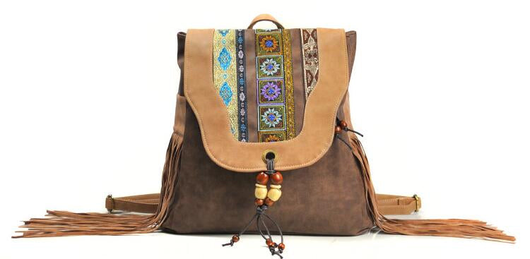 Bohemian Leather & Tassels Beaded Backpack
