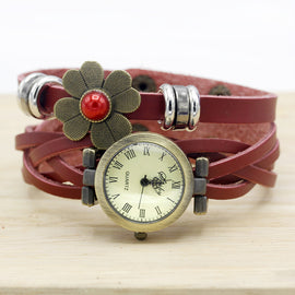 Boho Style Leather Daisy Fashion Watch  :: Available in 5 Colors