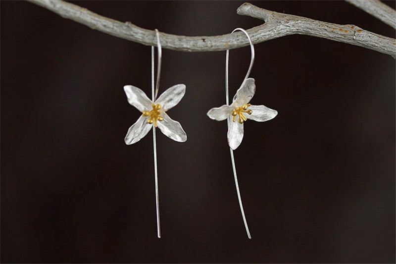 Four Petal Boho Style Spring Flower Silver Earrings - Limited Quantities!
