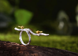 Handcrafted Birds on a Branch Ring