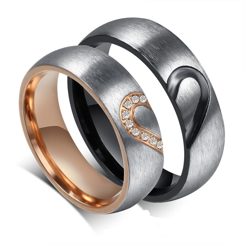 Brushed Steel Heart to Heart Couples Ring Set