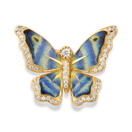 Hand Crafted Blue Butterfly Brooch