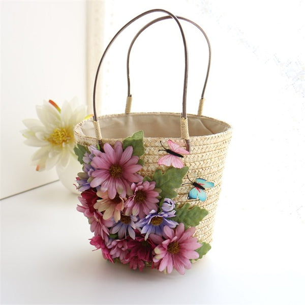 Butterfly Haven Hand Woven Straw Tote