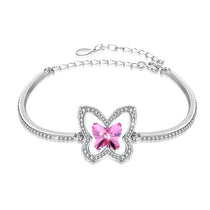Sterling Silver & Swarovski Crystal Butterfly Split Bangle Bracelet - Pink