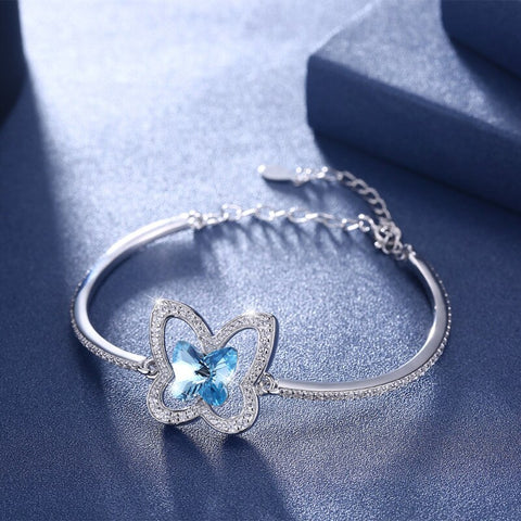 Sterling Silver & Swarovski Crystal Butterfly Split Bangle Bracelet - Blue