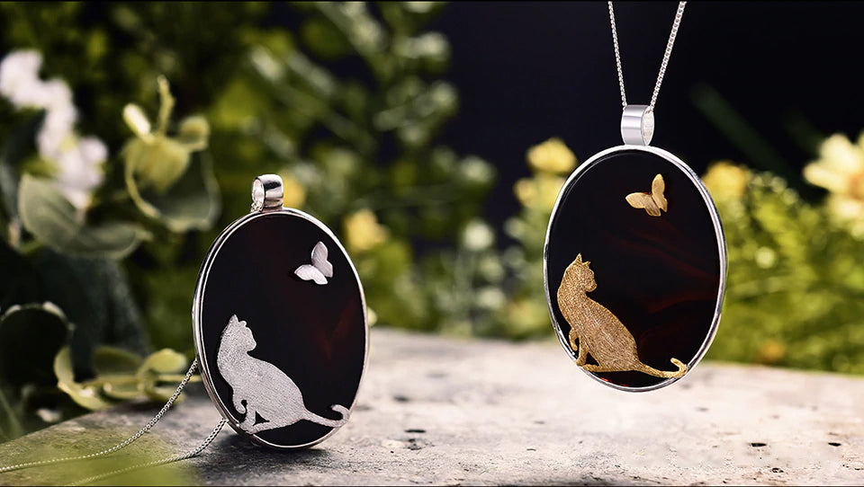 Handcrafted Kitten & A Butterfly with Black Agate - Available in 2 Colors
