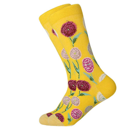 Men's Combed Cotton Crew Socks - Floral 4