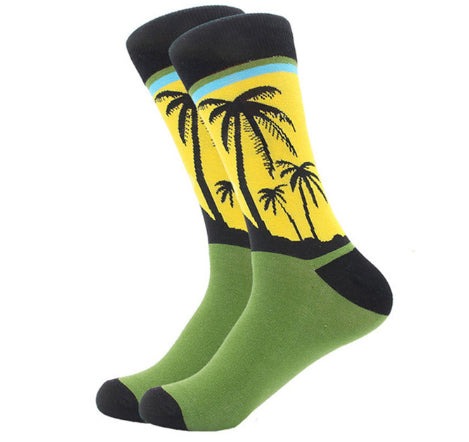 Men's Combed Cotton Crew Socks - Palm Tree Sunrise