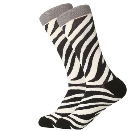 Men's Combed Cotton Crew Socks -Zebra Stripes 2