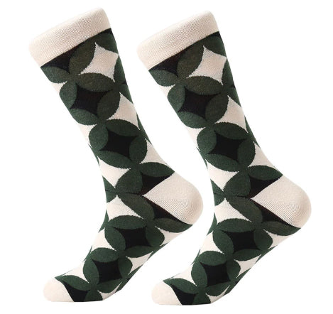 Men's Combed Cotton Crew Socks - Filled Geometric Circles