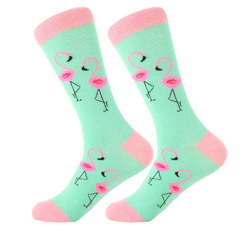 Men's Cotton Crew Socks - Flamingo's 1