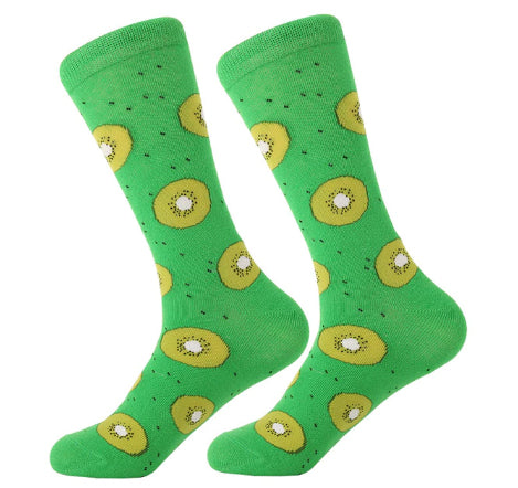 Men's Cotton Crew Socks - Foodie Socks - Kiwi