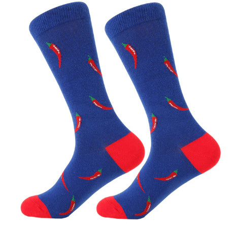 Men's Cotton Crew Socks - Foodie Socks - Chili Peppers
