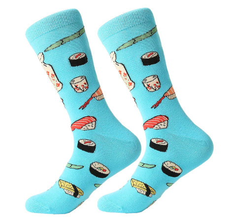 Men's Cotton Crew Socks - Foodie Socks - Sushi