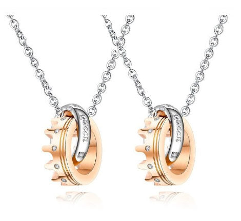 King & Queen Couples Necklace Set - FREE Engraving!