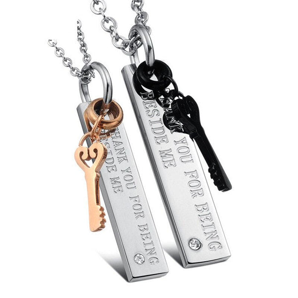 Stainless Key Bar Couples Necklace Set - FREE Engraving!
