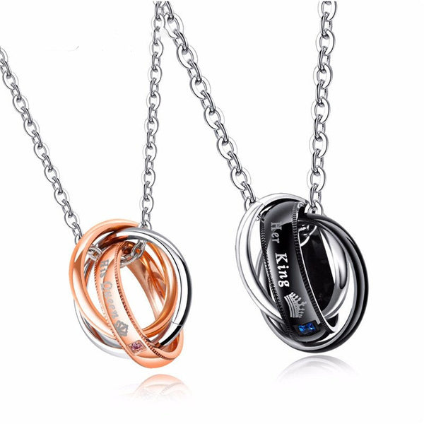 King & Queen Triple Circle Couples Necklace