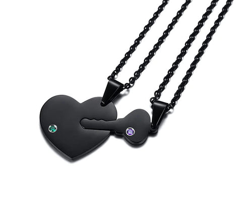 Black Powder Key to My Heart Couples Necklace Set - Free Engraving!