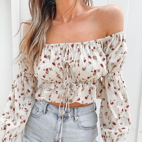 Boho Floral Off Shoulder Crop Top