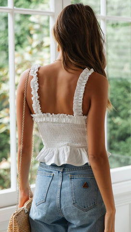 Peasant Style Ruffled Front Tie Fitted Crop Top