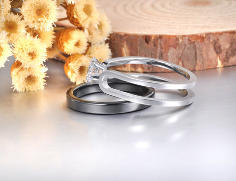 Interlocking 2-Piece Titanium & Ceramic Bridal Set