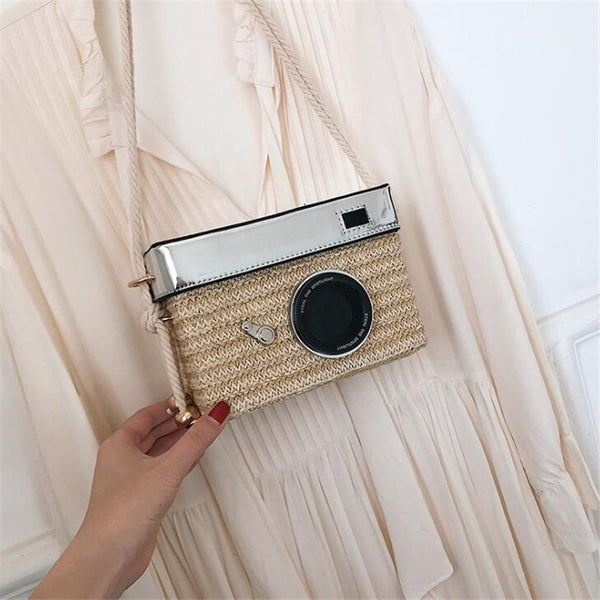 Camera - Handmade Straw Novelty Camera Shaped Cross Body Bag - Available in 2 Colors