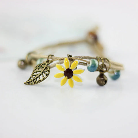 Boho Handcrafted Ceramic Flower Leather Bracelet :: Available in 7 Colors