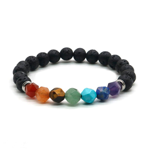 Natural Stone Unisex Chakra Bracelet :: Available in 6 Colors