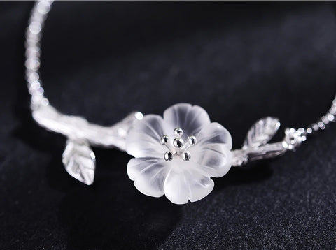 Handcrafted & Hand Carved Crystal Cherry Blossom Bracelet