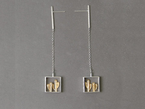 Handcrafted Cactus in a Frame Silver Earrings