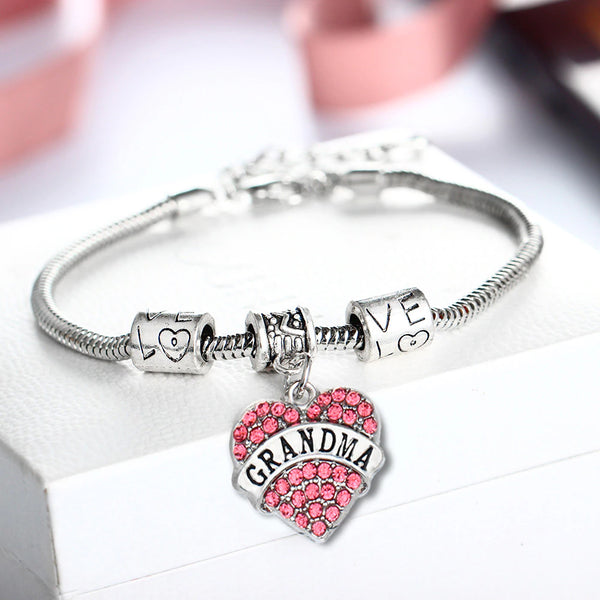 Crystal Sentimental Heart European Bracelet
