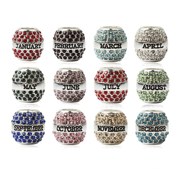 Crystal Oval Birthstone Beads Collection  -  European Pandora Style Beads
