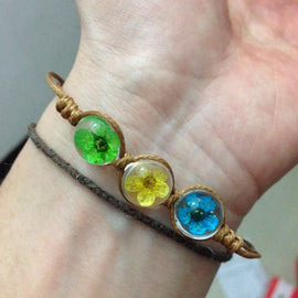 Mini Dried Flower Trio Leather Bracelet