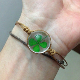 Mini Dried Four Leaf Clover Bracelet