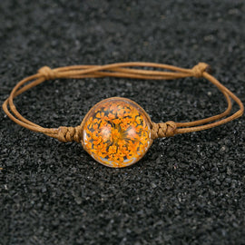 Dried Baby's Breath Bracelet w/ Genuine Leather Band ::  Available in 8 Colors