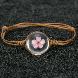 Mini Dried Pink Flower Bracelet w/ Genuine Leather Band