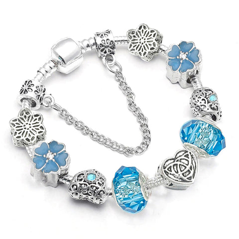 Daisy Love European Bracelet Design w. Murano Glass Beads - Available in 5 Colors