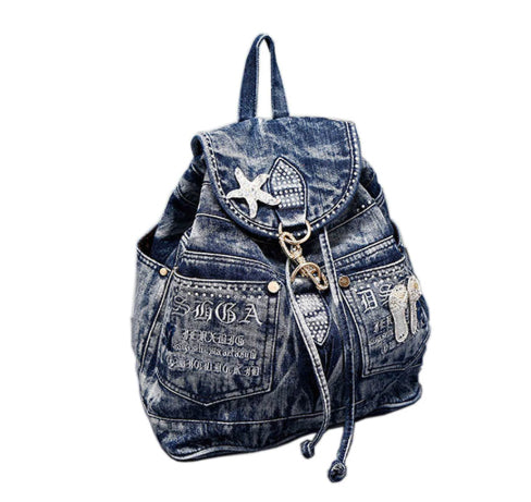 Beach Bum Blinged Denim Backpack :: Available in 2 Colors