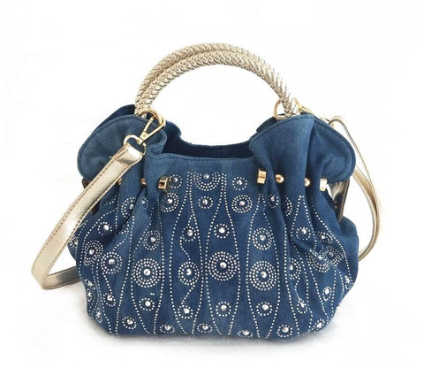 Denim Starburst Rivet Shoulder Bag