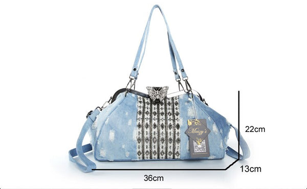 Boho Distressed Denim Hand Beaded Crystal Butterfly Shoulder Bag
