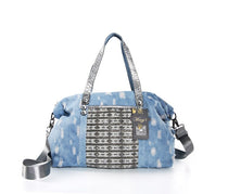 Boho Distressed Denim Hand Embellished Crystal Tote