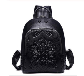 Luxury Floral Embossed Leather Backpack
