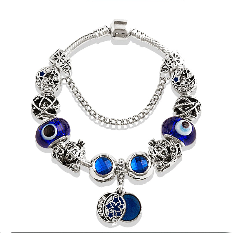 Blue Crystal Evil Eye :: Handmade European Charm Bracelet ::Available in 5 Colors