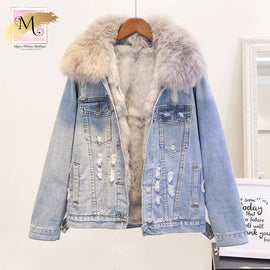 Distressed Faux Fur Hooded Denim Jacket :: Limited Quantities