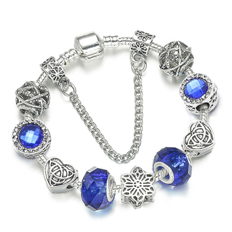Forever Love European Bracelet Design w. Murano Glass Beads - Available in 2 Colors