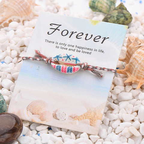 Hand Crafted Bohemian Print Seashell Rope Bracelet - 24 Styles