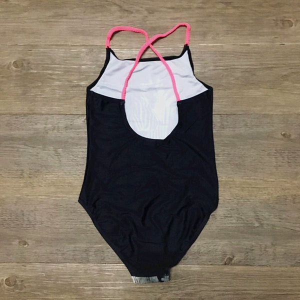 Girls Black Zebra Swimsuit