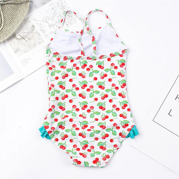 Girls Cherry Ruffles Swimsuit