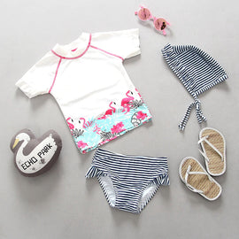 Flamingo Party Short Sleeve Surf Set   - 12M - 4T